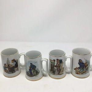 Norman Rockwell by the sea mug artist set